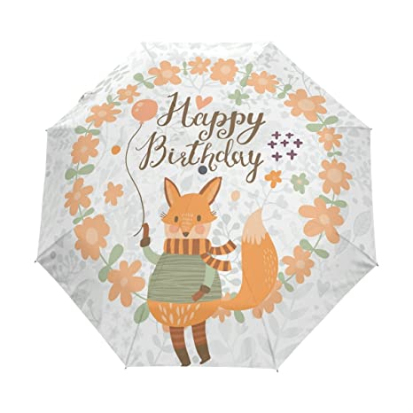 COOSUN Fox feliz cumpleaños automático 3 plegable del paraguas del parasol Color # 001