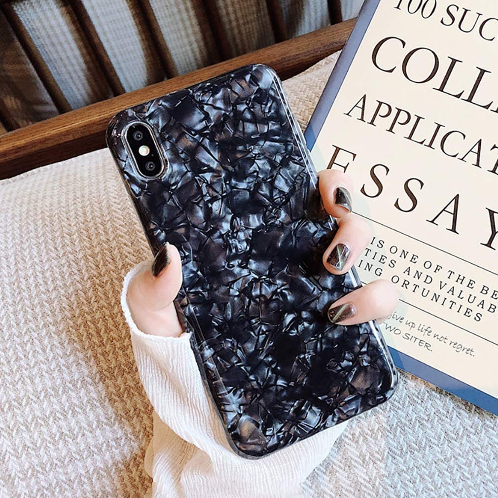 love LLZ.COQUE For iPhone Xs Max Case Seashell Marble Pattern Design Shockproof Case Soft Silicone TPU Gel Skin Bumper Cover Ultra Thin Slim Fit Anti-Scratch Girly Back Case Cover