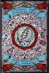 Sunshine Joy 3D Grateful Dead Mini Tapestry Mexicali Skull Wall Art 30x45 Inches