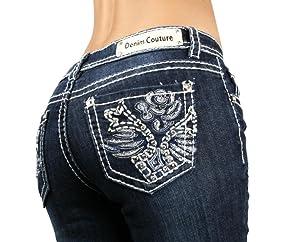 Denim Couture Rose Medium Blue Wash Boot Cut Jeans - Waist 11