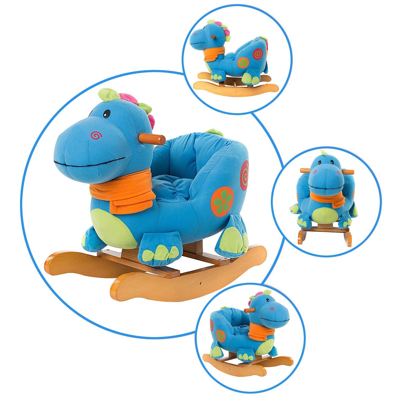 Geschenk f/ür Kinder HONNIEKIS Pl/üsch Schaukelpferd Spielzeug h/ölzernes Schaukelpferd f/ür Kinder 1,2,3 Jahre Blauer Dinosaurier