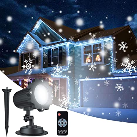 Christmas Projection Lights.Christmas Snowflake Projector Lights Aloveco Rotating Led Snowfall Projection Lamp With Remote Control Outdoor Waterproof Sparkling Landscape