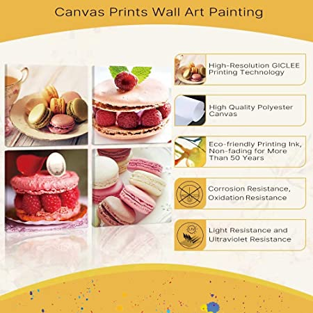 Amazon Com Tonzom Delicious Cake Macaron Photo Print Wall Art 4 Piece Canvas Wall Art Modern Home Decor Stretched And Framed Ready To Hang Kitchen Dessert Bar Kitchen Home Wall Decor Posters