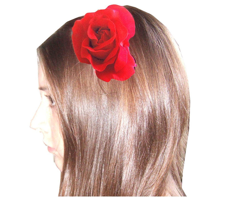 Flower Hair Accessories Amazon - Amazon com deep red large burlesque carmen flower rose flamenco dancer pin up hair clip slide beauty