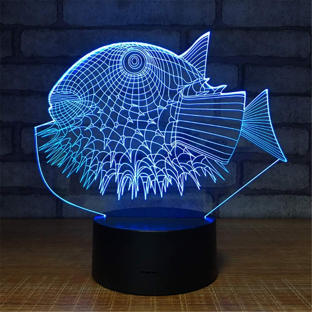 WBYD 3D Lamp LED Night Light Optical Illusion 7 Colour Changing USB Touch Button and Intelligent Remote Control Desk Table Lighting Nice Gift Home Office Decorations Toys(Spiny Fish)