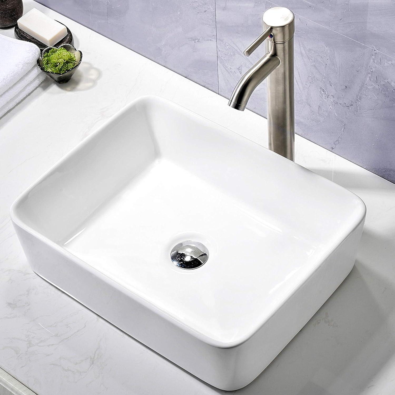 Comllen Counter White Porcelain Ceramic 18 9 X14 5 Bathroom Vessel Sink Art Basin Rectangular Vessel Sink Durable Bathroom Sink