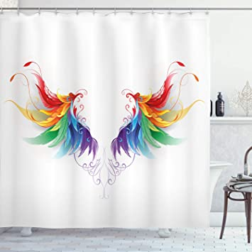 Ambesonne Rainbow Shower Curtain, Realistic Looking Feathers in Rainbow on painted bathtub, painted patio designs, painted chairs designs, painted floor designs, painted table designs, painted furniture designs, painted photography, painted boat designs, painted closets, painted door designs, painted carpet designs, painted glass designs, painted room designs, painted porch designs, painted christmas designs, painted fireplace designs, painted bedroom, painted window designs, painted cabinet designs, painted car designs,