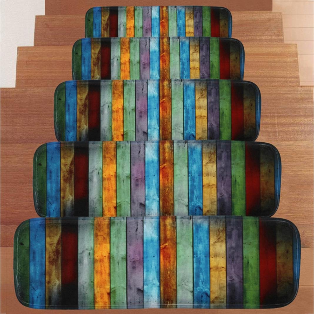 2018 Hot Selling 5PC Stair Mat,Ikevan 1Set 5PC Step Basic Non-Slip Coral Fleece Resistant Carpet Stair Mat Stair Mat Area Rug (Color A) by Ikevan Stair Mat
