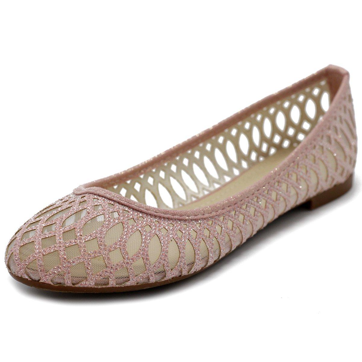 Ollio Women's Shoe Breathable Mesh Glitter Comfort Slip-on Ballet Flat 2 Styles BN11(9 B(M) US, Style1-Pink)