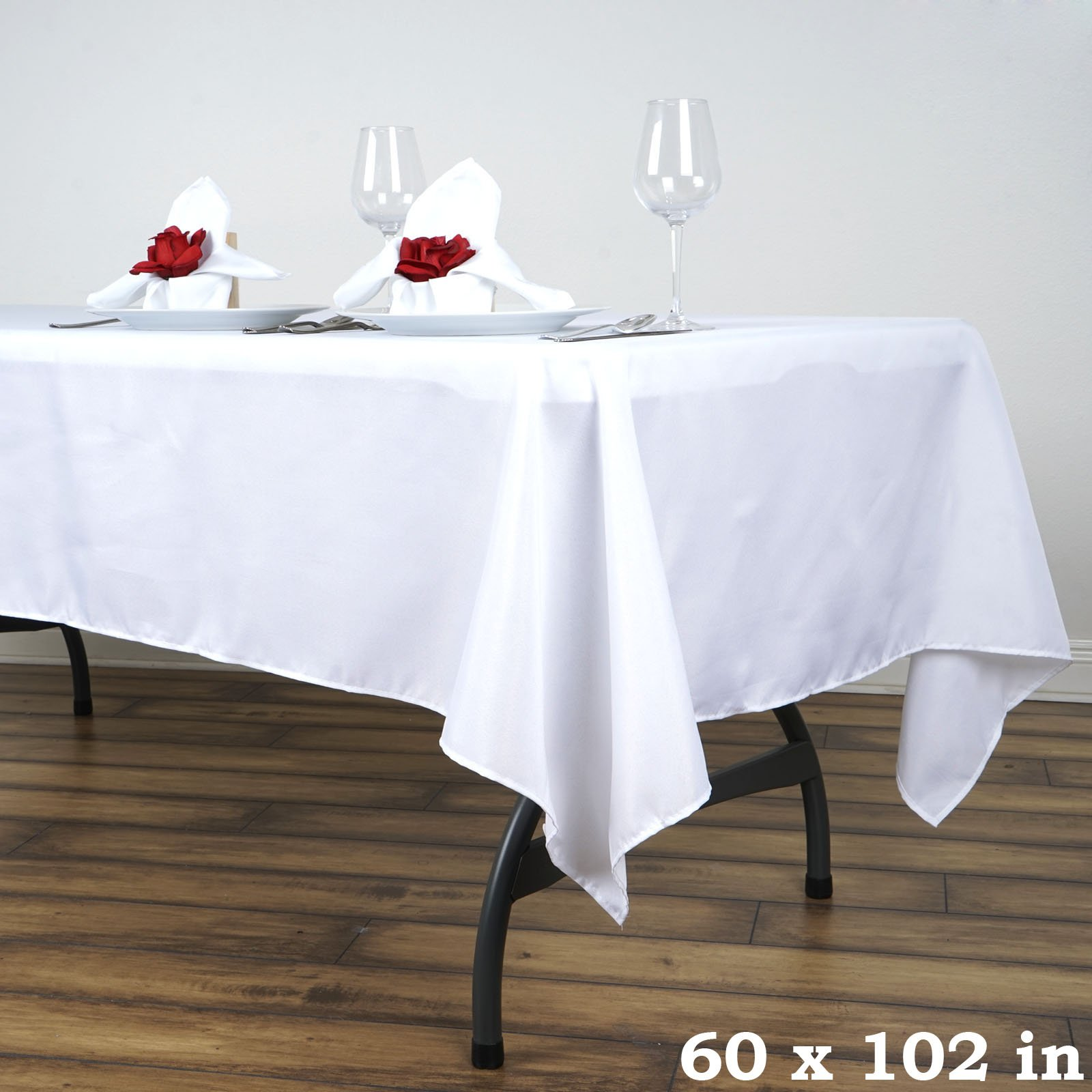 Efavormart 5pcs of White 60x102 Polyester Rectangle Tablecloths Banquet Linen Wedding Party Restaurant Tablecloth by Efavormart (Image #2)