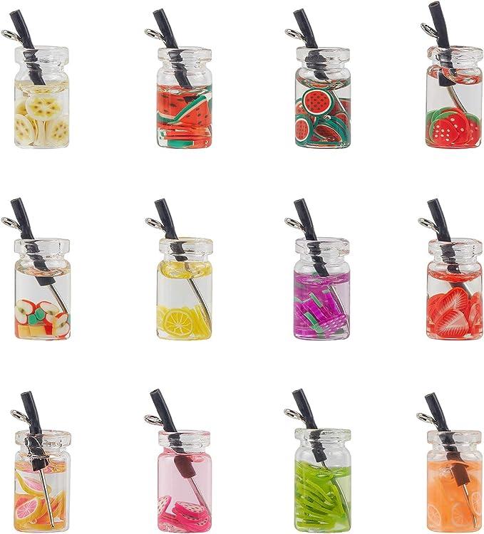 48 Pieces Milk Tea Charms Fruit Tea Charm Pendant Boba Fruit Tea Charms Dangle Earring Necklace Pendants for DIY Jewelry Making