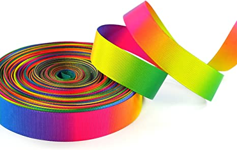 "3 yards 7//8/"" Rainbow Pastel Stripes Grosgrain Ribbon DIY Hair Bow"