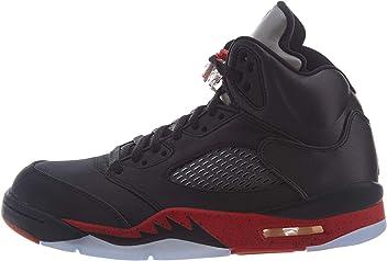 c346679521cd19 Nike Men s Air Jordan 5 Retro Satin Black University Red 136027-006 (Size