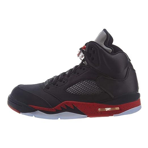 22d5c3b8c83160 Image Unavailable. Image not available for. Color  Nike Men s Air Jordan 5  Retro Satin Black University Red ...