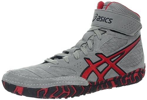 Zapatillas de lucha Asics Men's Aggressor 2, Dusty Blue / Silver / Red Orange, 9.5 M US