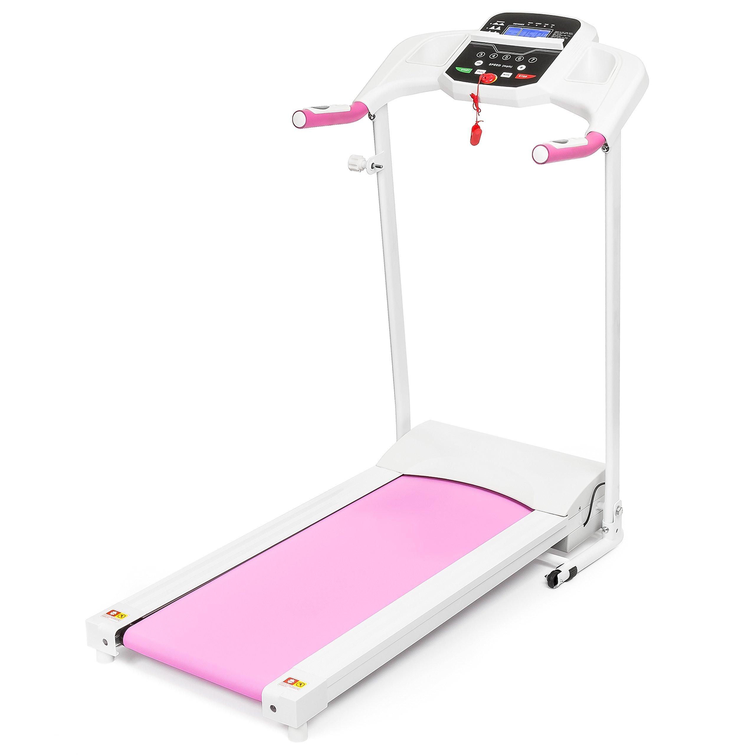 Best Choice Products 5 Speed Treadmill w/Water Bottle Holder, Media Shelf (Pink)