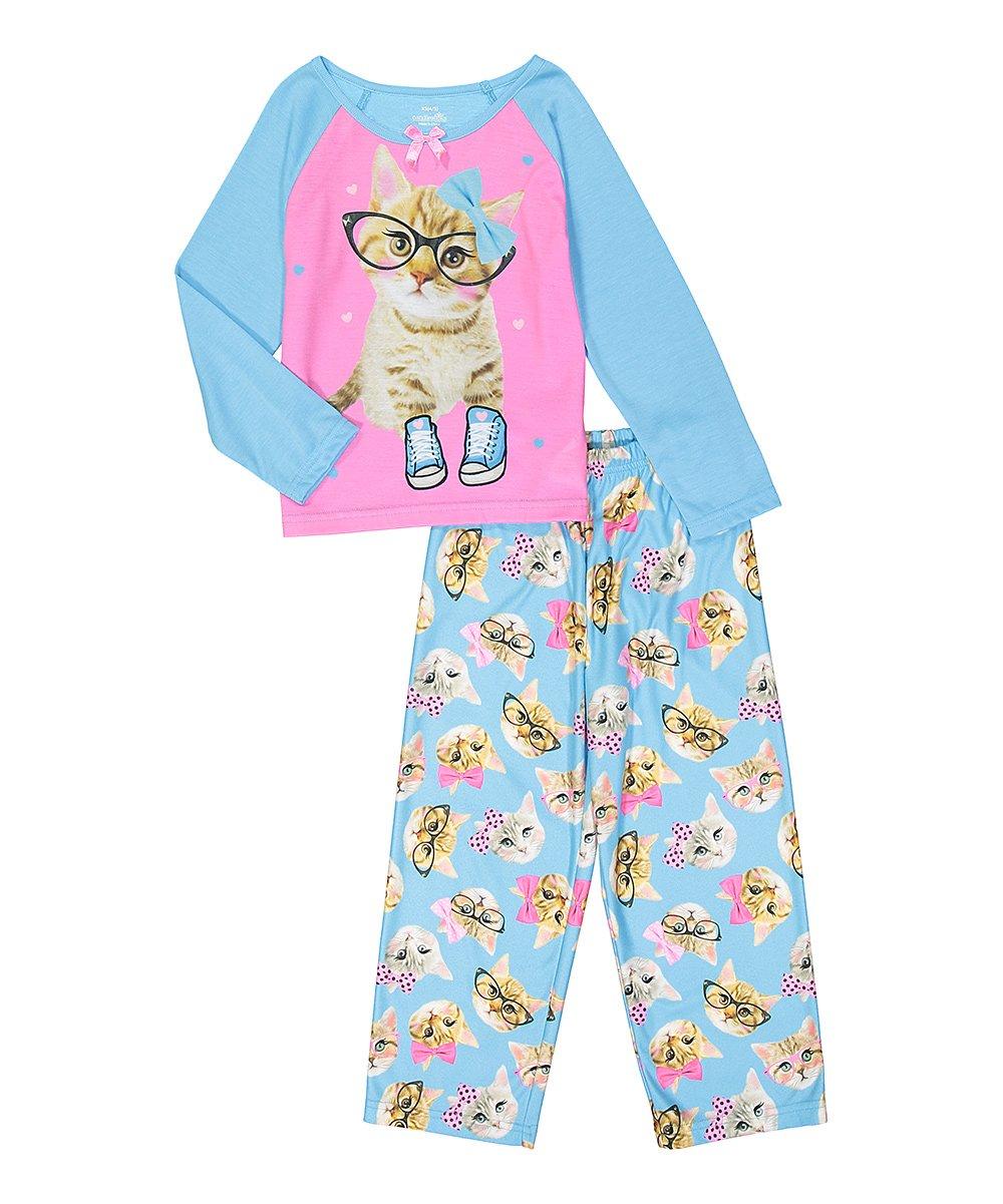 Candlesticks Girls' Cute Kitty Glasses Cat Pajama Sleepwear Set (XS 4/5)