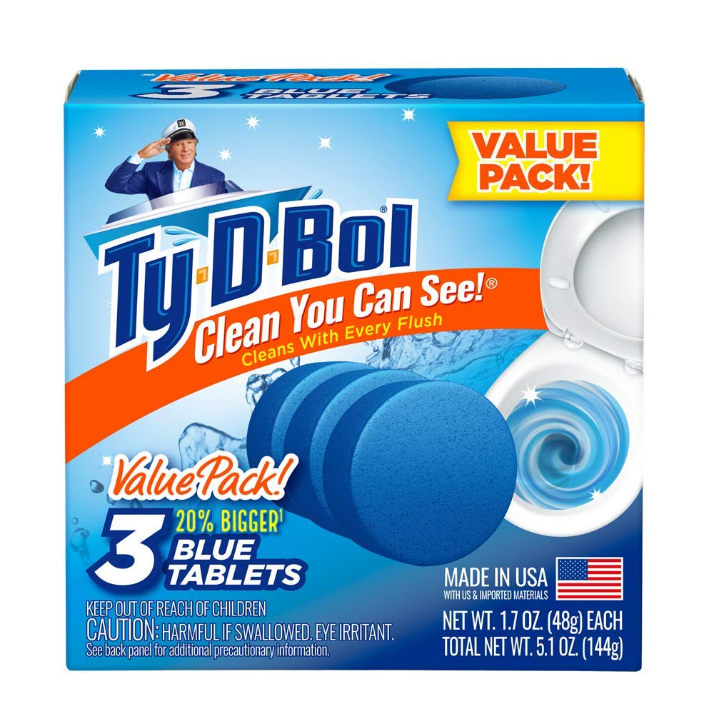 Ty-D-Bol's Blue in-Tank Toilet Bowl Tablets 3ct (Case of 10) by Ty-D-Bol