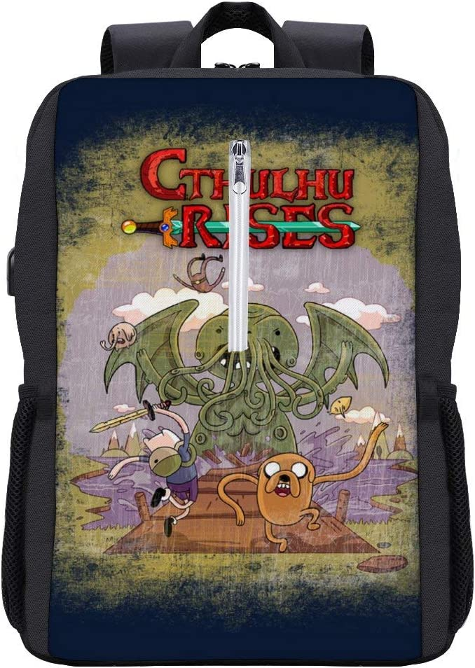 Adventure Time H P Lovecraft Cthulhu Rises Backpack Daypack Bookbag Laptop School Bag with USB Charging Port