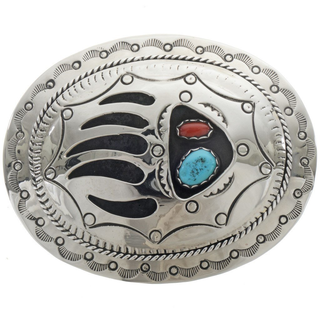 Turquoise Coral Bear Paw Belt Buckle Shadowboxed Hammered Silver 0168