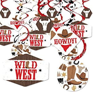Big Dot of Happiness Western Hoedown - Wild West Cowboy Party Hanging Decor - Party Decoration Swirls - Set of 40