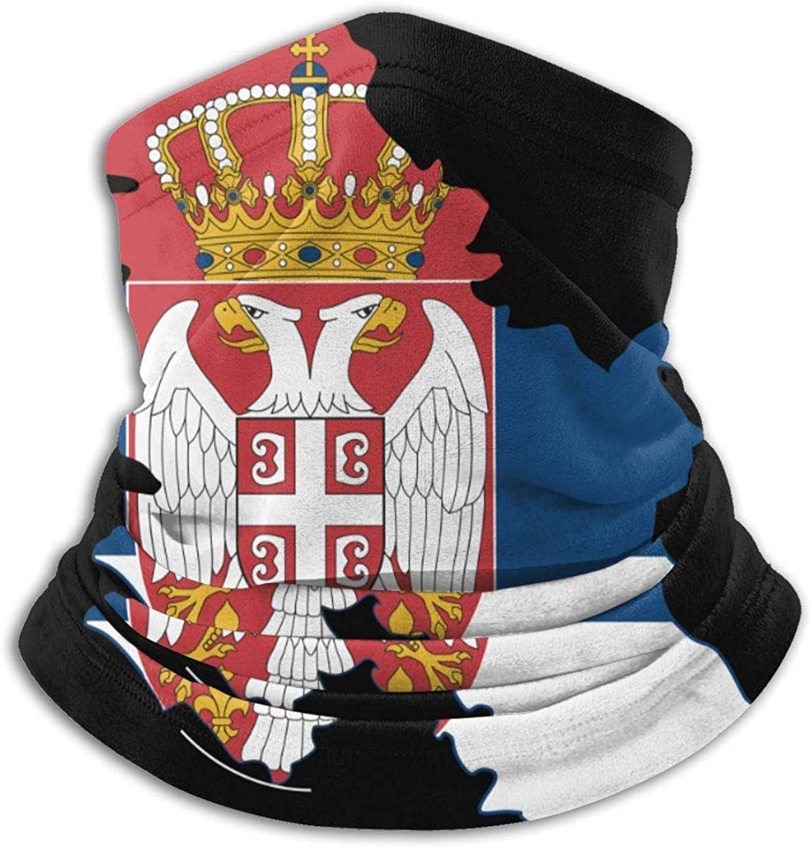 Wfispiy Carte de la Serbie Drapeau Cou Chaud Gaiter Balaclava Ski Masque dhiver Chapeaux Chapeaux pour Hommes Femmes Noir