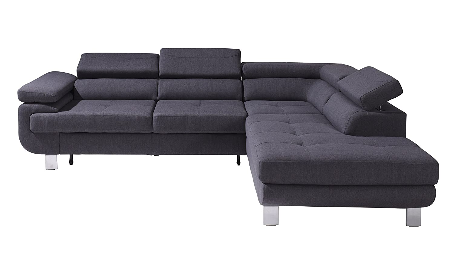 luccia grau stoff schlafsofa schlafcouch couch sofa garnitur mit bettkasten schlaffunktion. Black Bedroom Furniture Sets. Home Design Ideas