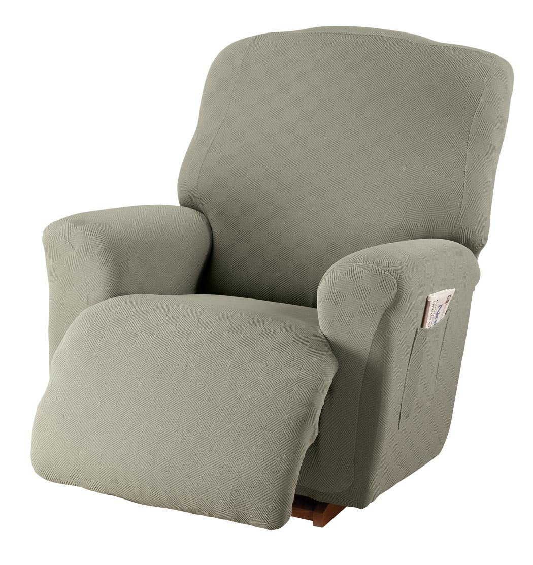 Stretch Sensations 849203012232 Newport Jumbo Recliner Stretch Slipcover, Sage