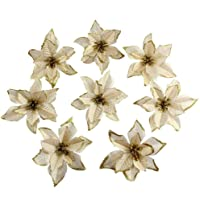 OurWarm 50pcs Glitter Poinsettia Christmas Tree Ornaments Artificial Poinsettia Flowers for Christmas Decorations, Gold