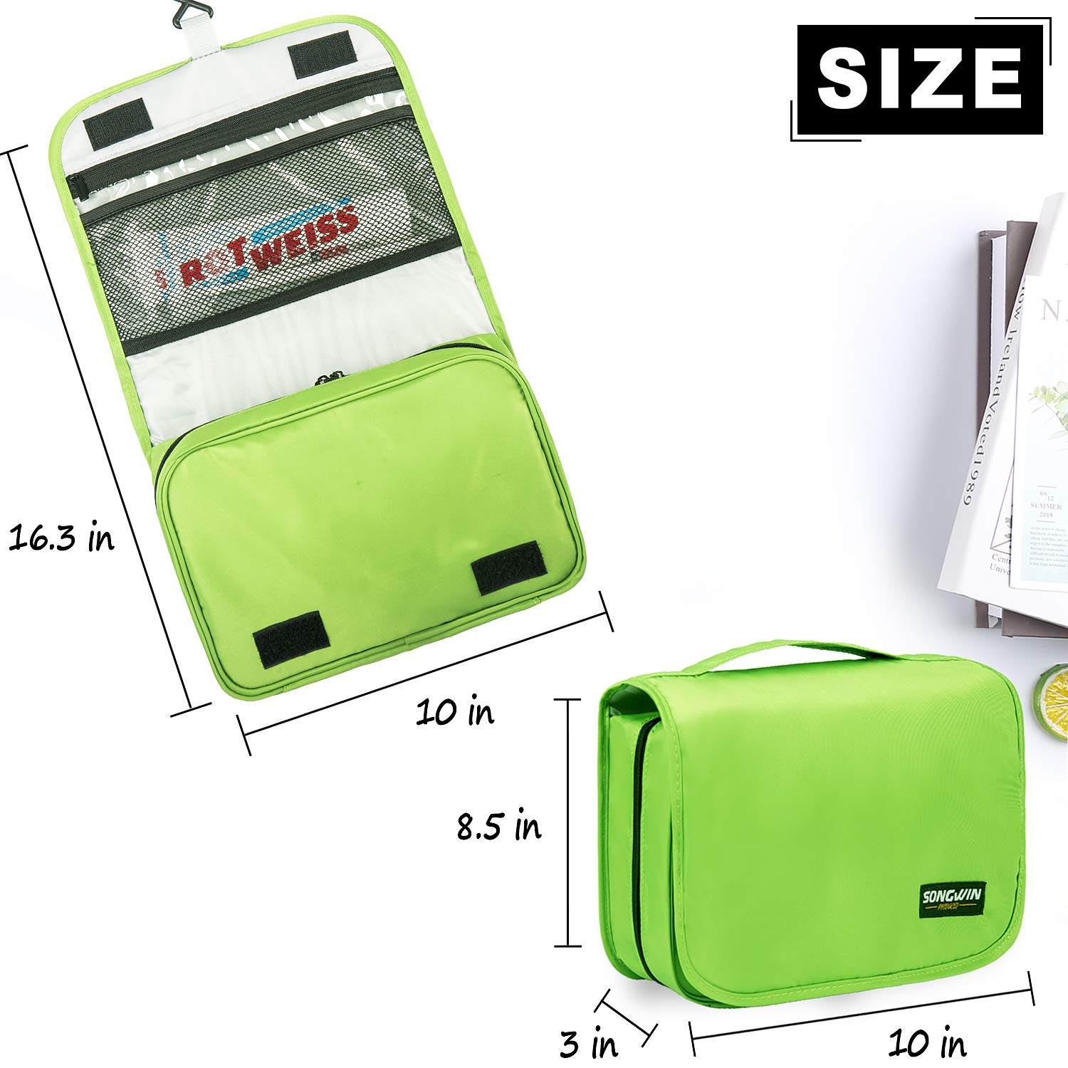 Hanging Toiletry Bag Multifunction Cosmetic Bag Portable Makeup Organizer for Women Girls and Men,Waterproof Bathroom Shower Bag With Sturdy Hook. Fresh Green