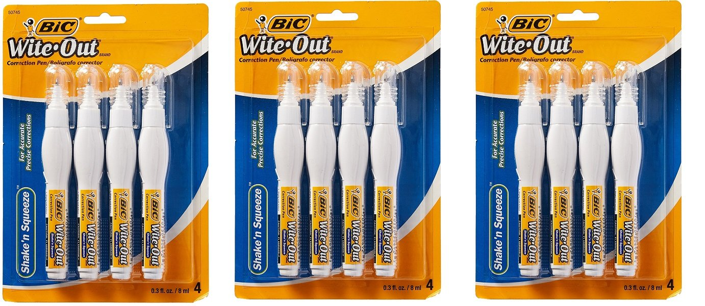 BIC Wite-Out Shake 'n Squeeze Correction Pen, 8 ml, White, 4/Pack (WOSQPP418) (3)