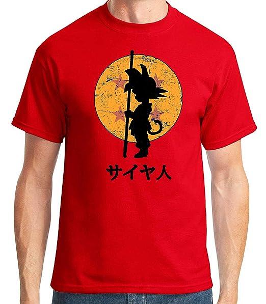 35mm - Camiseta Hombre Goku Dragon Ball, Rojo, L: Amazon.es: Ropa y accesorios