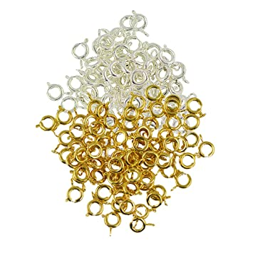100 Pcs Round Spring Ring Clasps Jewelry Making Findings Silver White /& Gold