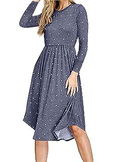 52f183f1ed Simier Fariry Women Long Sleeve Pleated Polka Dot Pocket Swing Casual Midi  Dress