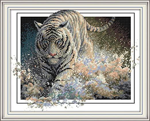 Joy Sunday Cross Stitch Kits 14CT Counted Care 14.1x17.3 or 36cmx44cm Easy Patterns Embroidery for Girls Crafts DMC Cross-Stitch Supplies Needlework Tiger Animal Series