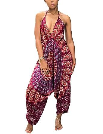 39c173d216 Akmipoem Fashion Summer V Neck Sleeveless Backless Loose Harem Jumpsuit  Long Rompers for Women Wine Red