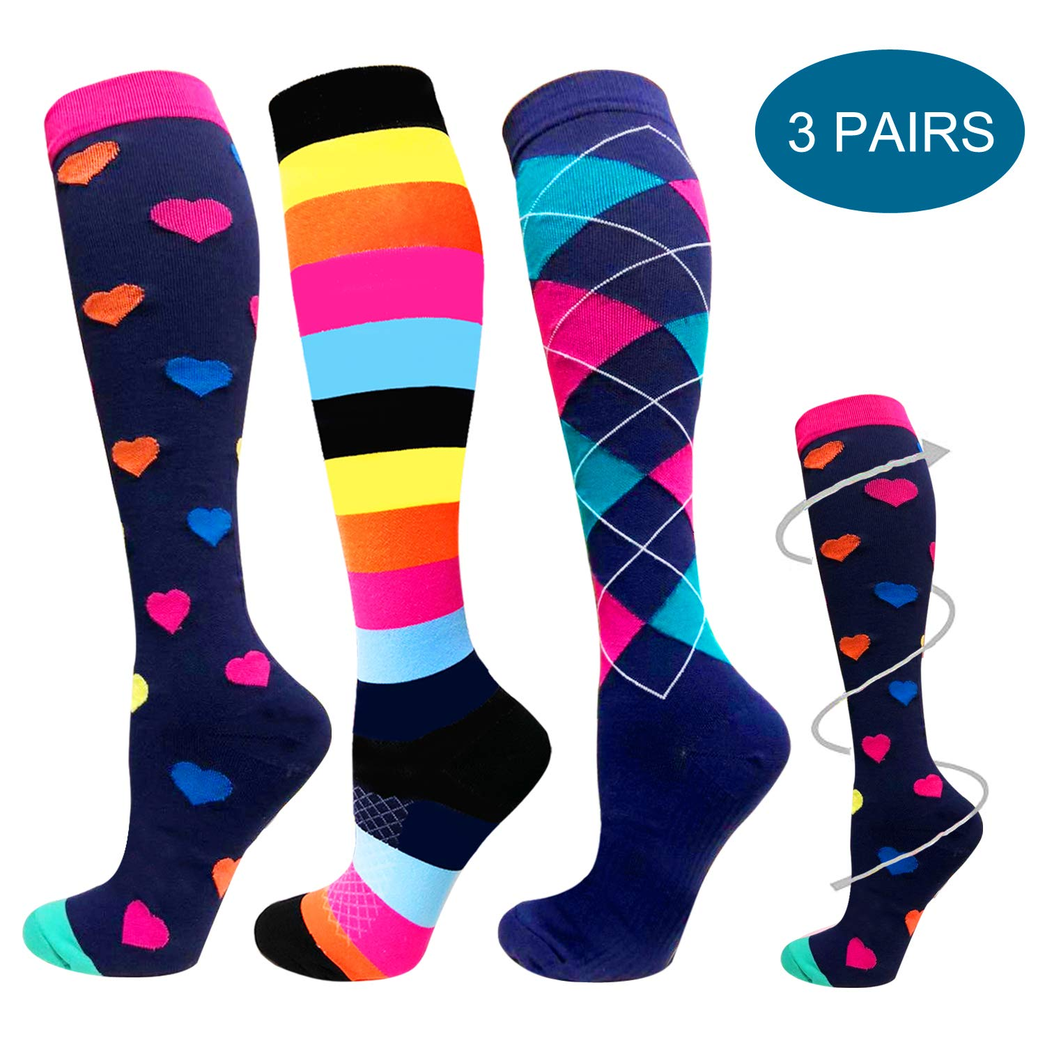 1/3/6 Pairs Compression Socks for Women&Men (20-30mmHg) -Best for Running, Travel,Cycling,Pregnant,Nurse, Edema