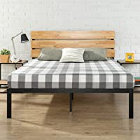 Zinus Paul Double Bed Frame - Metal and Wood Platform Bed with Timber Headboard