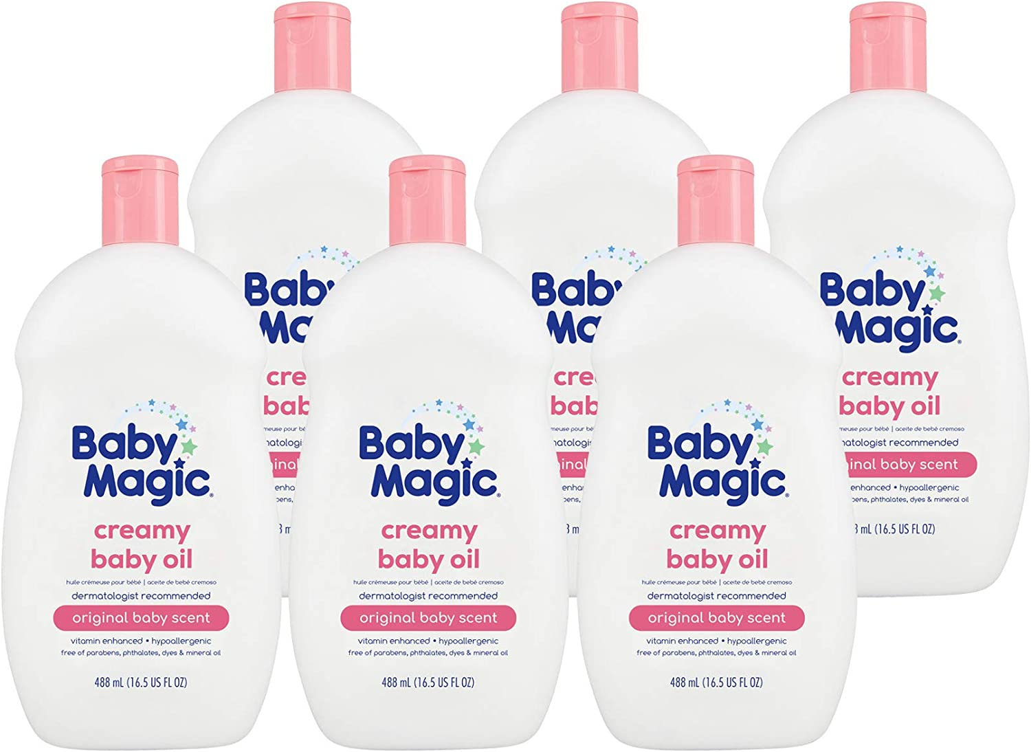 Baby Magic Creamy Baby Oil | 16.5oz (Pack of 6) | Coconut Oil & Camelia Oil | Free of Parabens, Phthalates, Sulfates and Dyes