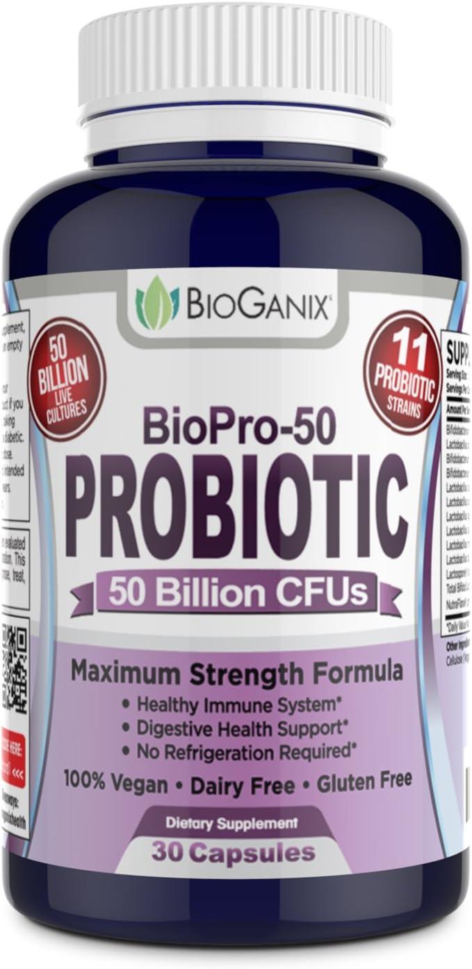Probiotic BIOPRO 50 Billion CFU with 11 Strains and Prebiotic Supplement for Women, Men and Children | Shelf Stable Acidophilus Probiotic | Vegan, Non Dairy | 30 Veggie Capsules
