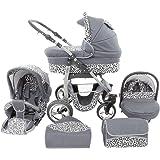 Chilly Kids Dino 3 in 1 Kinderwagen Set (Autosit & Adapter, Regenschutz, Moskitonetz, Schwenkräder) 33 Graphit & Snow Leopard