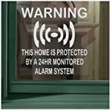 6 x Home Protected Stickers for Windows-Monitored Alarm System-24hr Security Warning Signs for House, Flat, Business, Property-Self Adhesive Vinyl Signs
