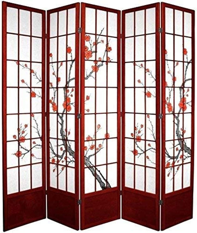 Oriental Furniture 7 ft. Tall Cherry Blossom Shoji Screen - Rosewood - 5 Panels