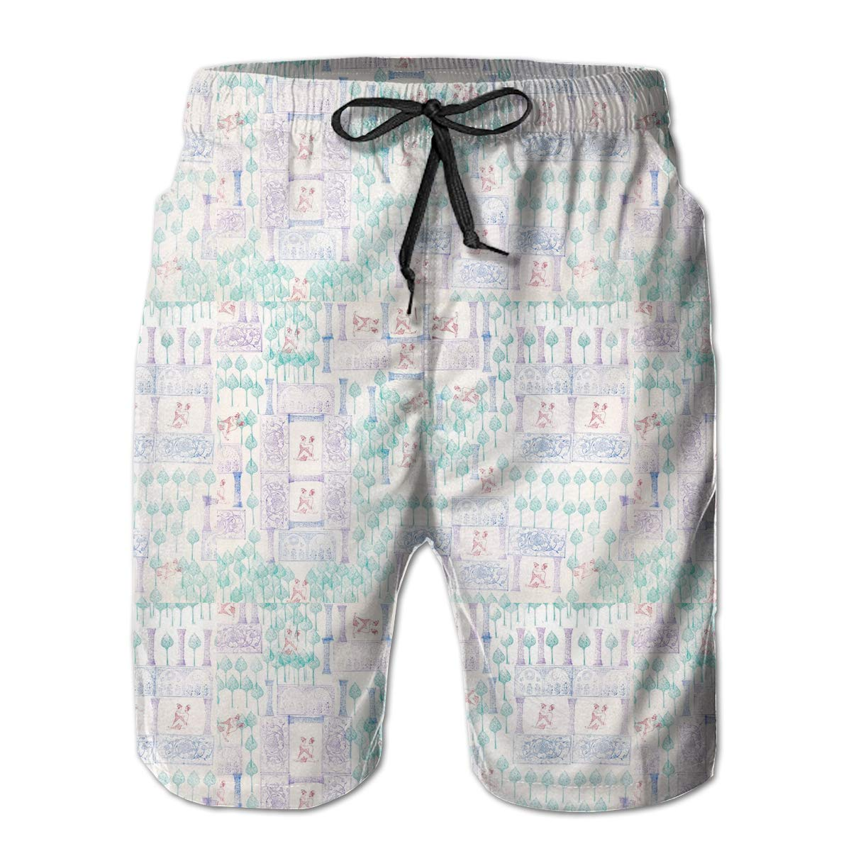 SACVCCD Mens Swim Trunks with Mesh Lining Pockets Tree People Boys Polyester Board Shorts Swimwear