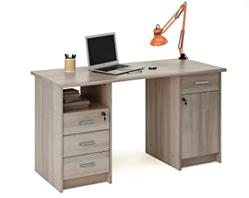 escritorio mesa de estudio cm roble shannon para ordenador despacho habitacin juvenil