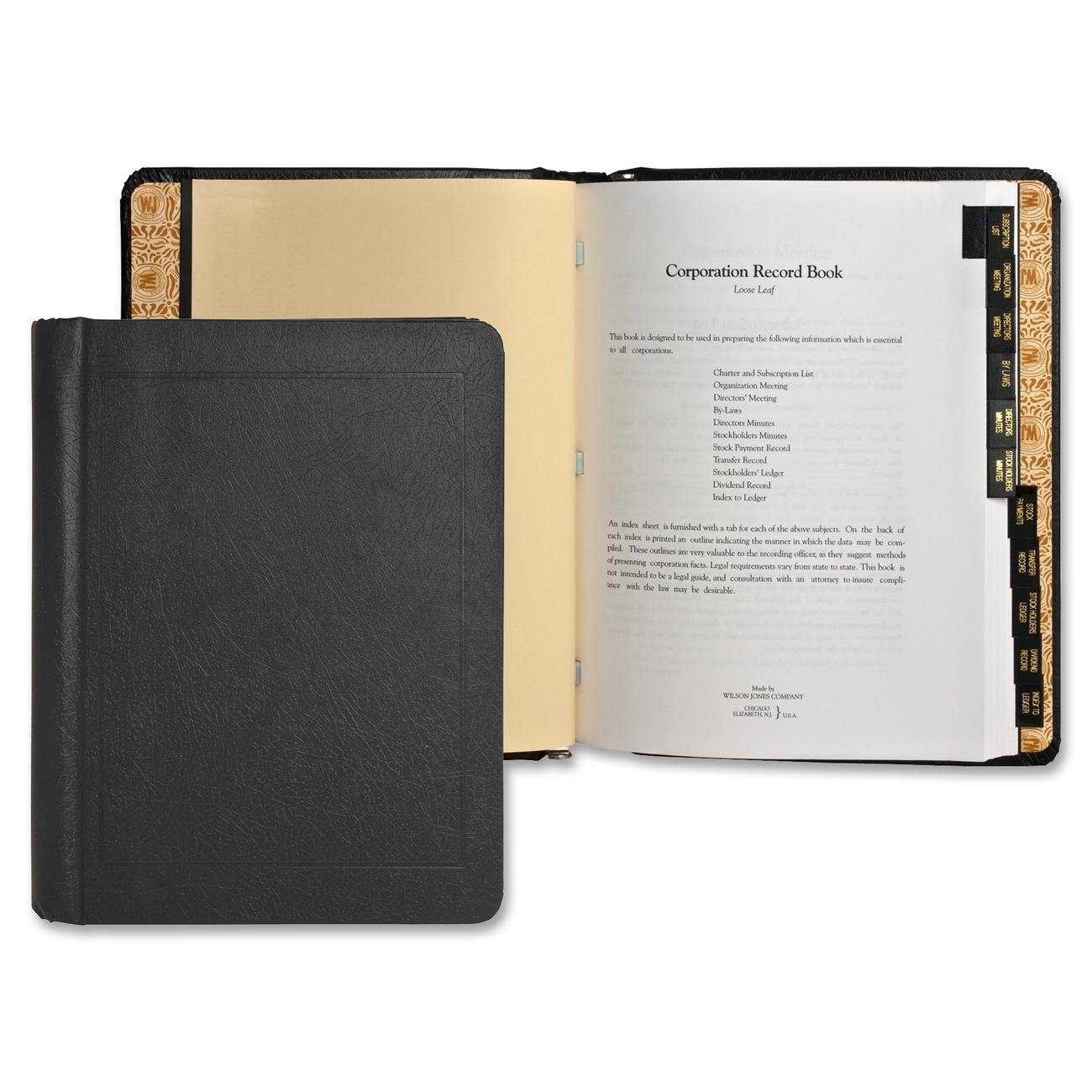 Wilson Jones Corporate Record and Minute Book, 75 Pages, 11 Index Tabs, Letter Size, Imitation Leather, Black (W0399-00) ACCO Brands