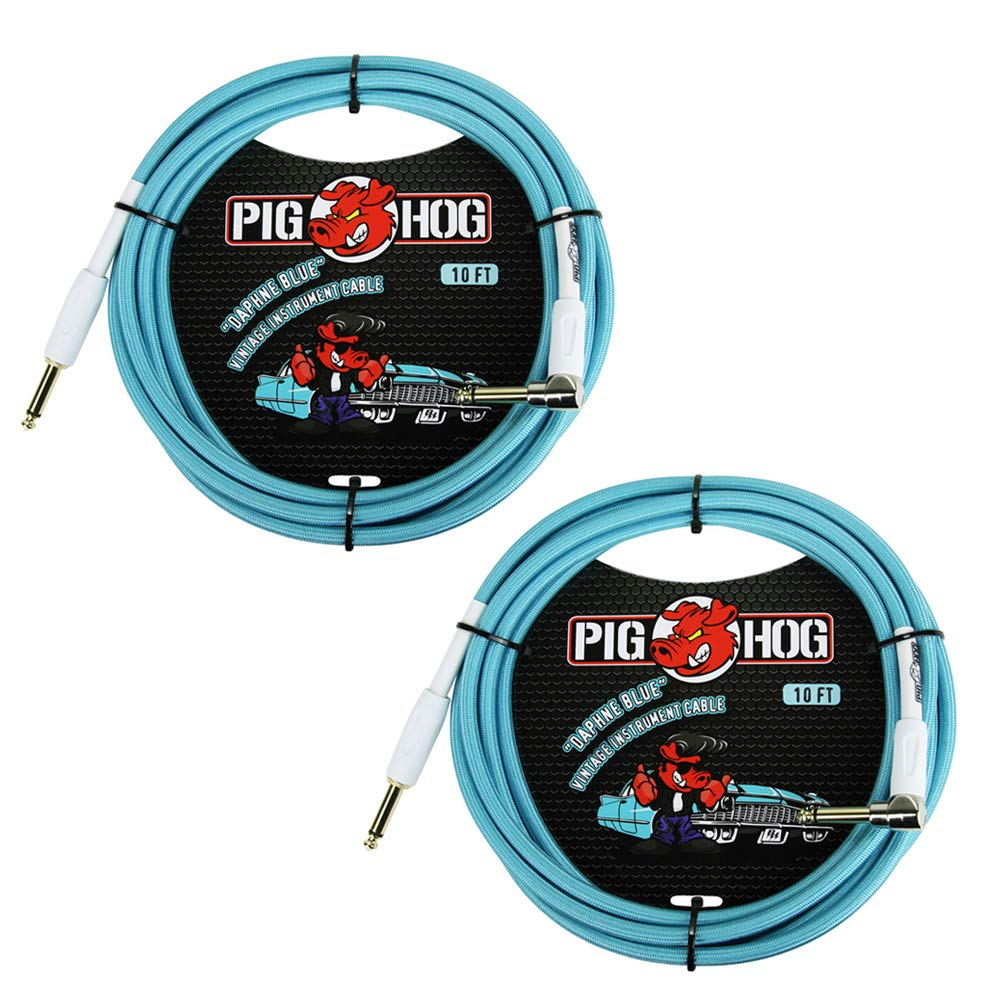 Pig Hog PCH10DBR 1/4'' to 1/4'' Right-Angle Daphne Blue Guitar Instrument Cable, 10 Feet (2-Pack)