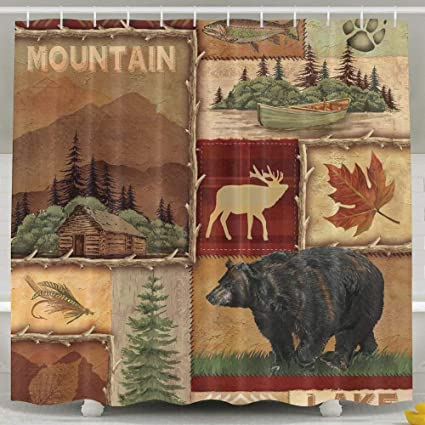 HONGYUDE Rustic Lodge Bear Moose 6072 Inch Bathroom Shower Curtain Set Waterproof Mold And Mildew Resistant