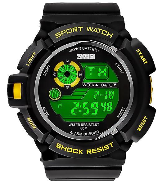 pasoy Hombres Reloj digital LED tipo 6 color retroiluminada natación impermeable Deporte relojes multifunción cronómetro: Amazon.es: Relojes