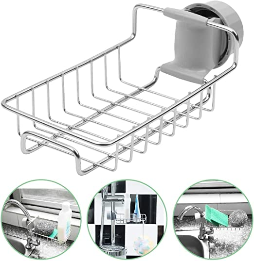 Stainless Steel Sink Sponge Soap Holder Kitchen Bathroom Drain Storage Rack